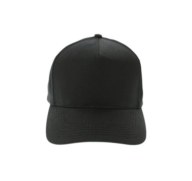 5 Panel Precurved Strapback Black