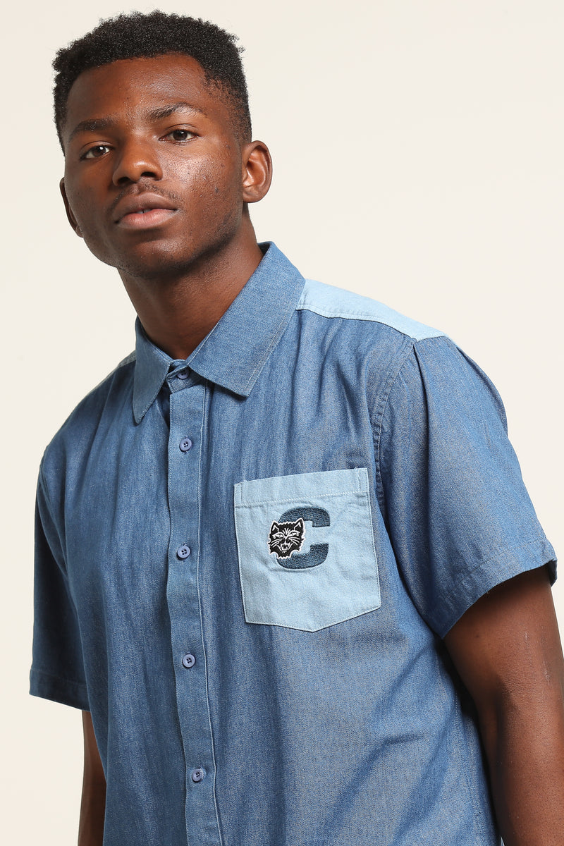 Carré Premier Short Sleeve Button Up Denim