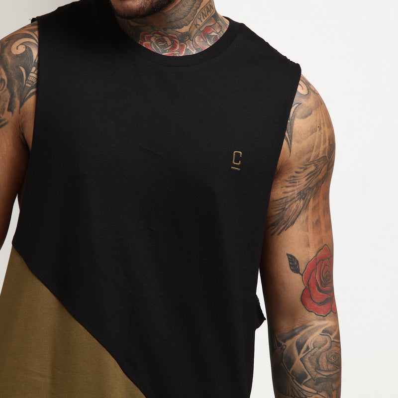 CARRÉ DIAGONAL PANEL 2 MUSCLE TEE BLACK/OLIVE