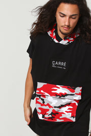 Carré Camo Rouge Sleeveless Hood Black/Red Camo