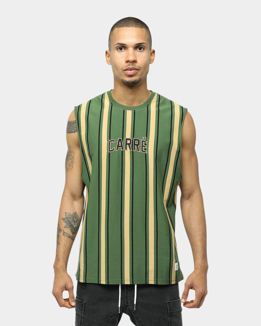 Carré Double Classique Stripe Muscle Green/Sand/Black