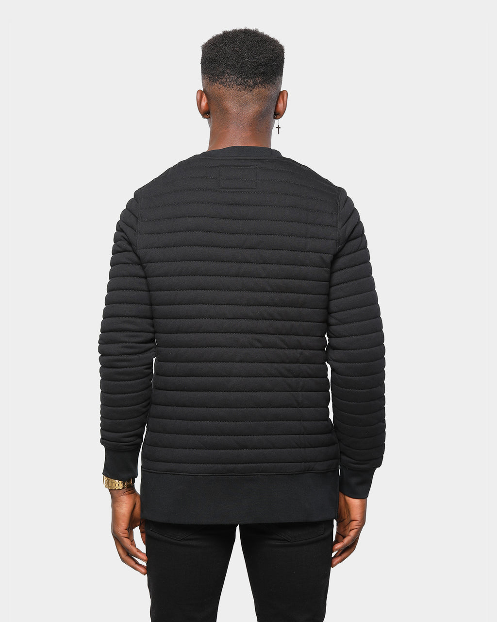 Carré Men's Shine Quilted Crew Sweater Black