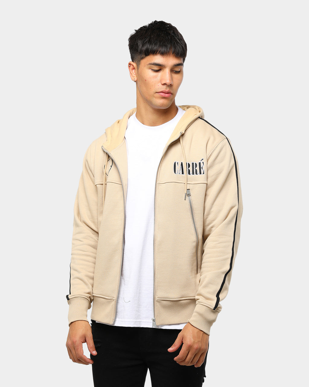 Carré Cible Zip Up Hoodie Stone
