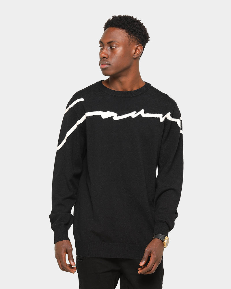Carré Men's Scripted Knitted Sweater Black