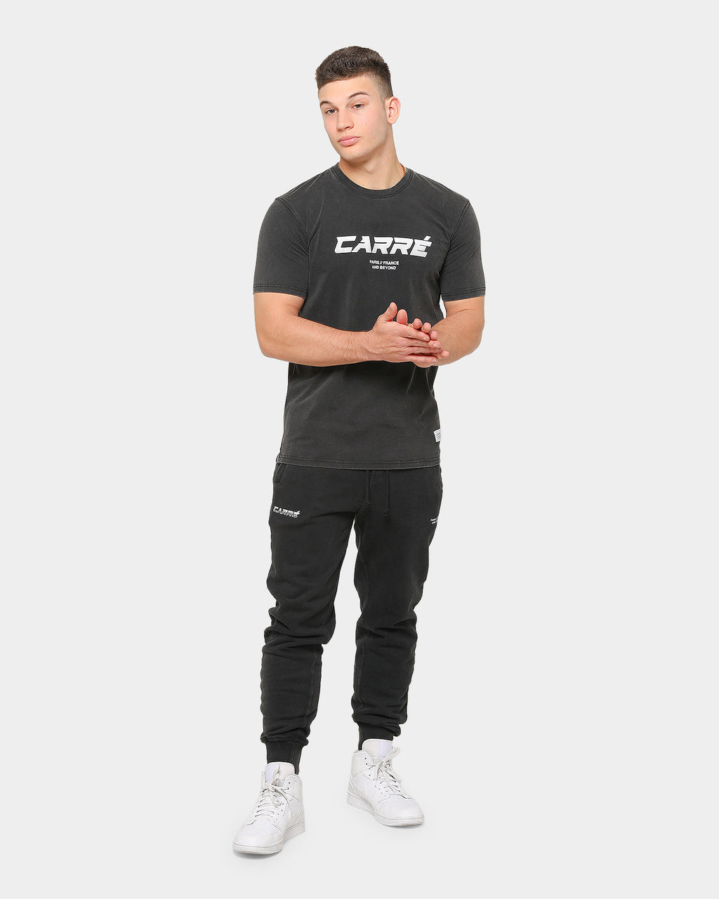 Carré Men's Colorant Classique Vintage Short Sleeve T-Shirt Black