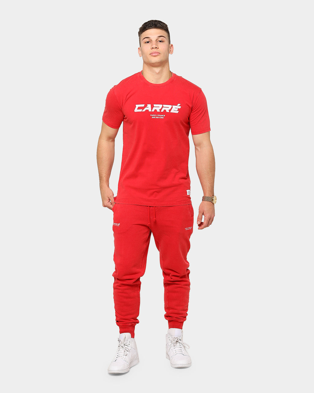 Carré Men's Colorant Classique Vintage Short Sleeve T-Shirt Red