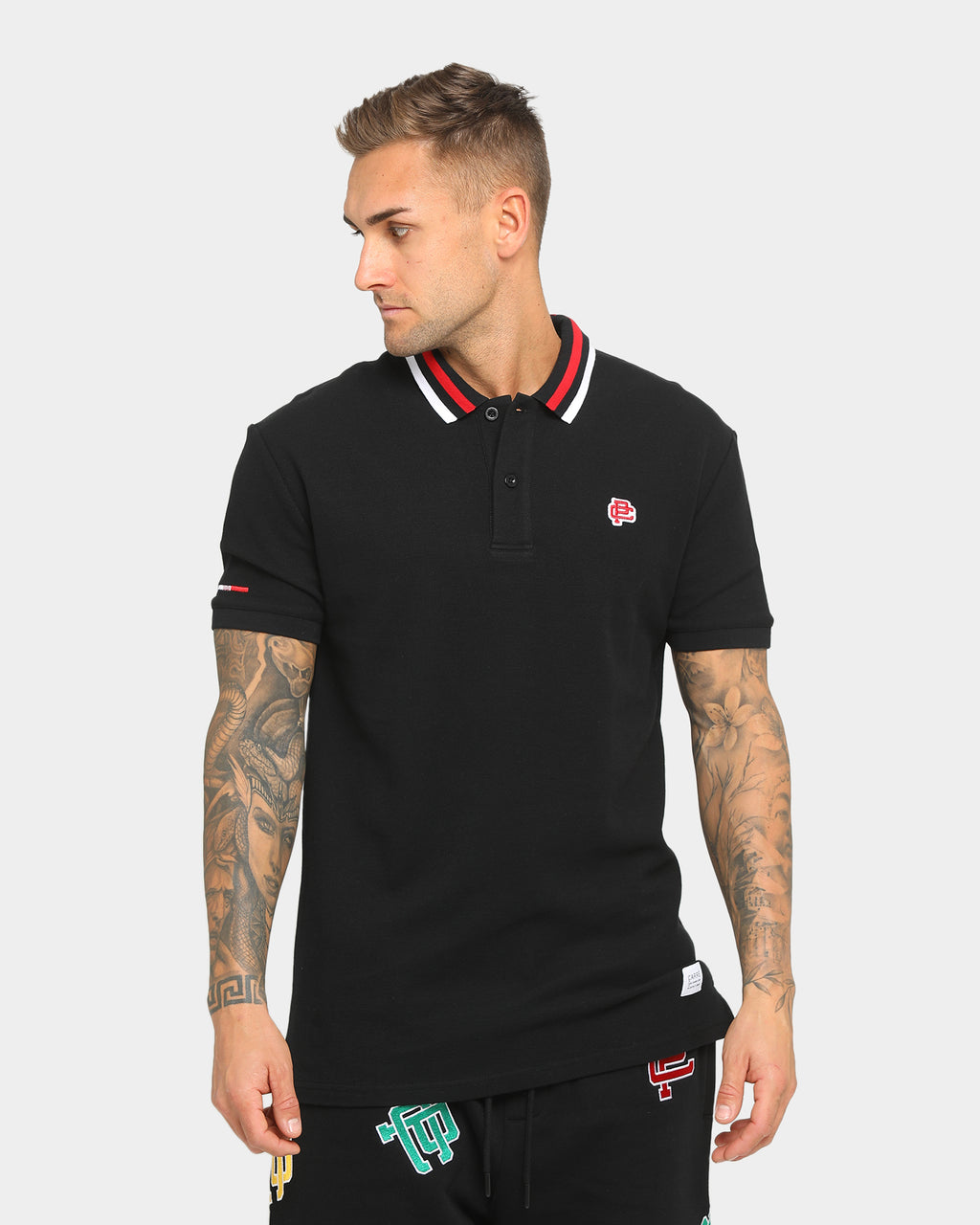Carré Mono Short Sleeve Polo Shirt Black