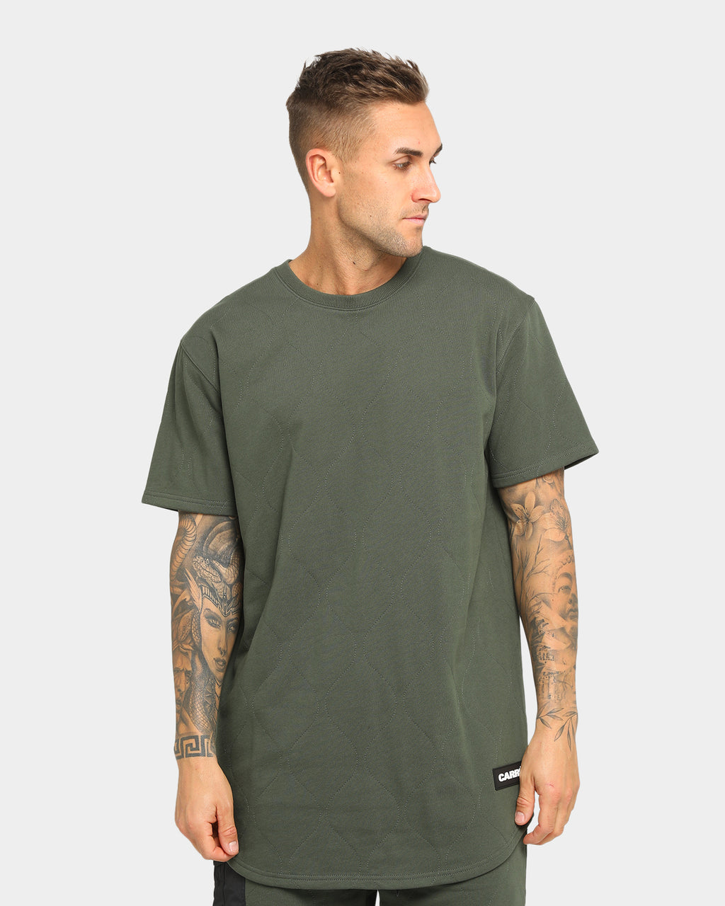 Carré Roadman Quilted Drop Short Sleeve T-Shirt Army Green