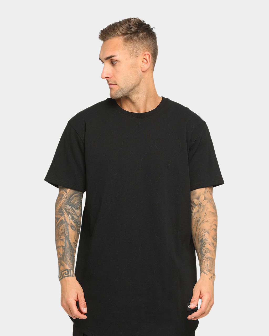 Carré Roadman Quilted Drop Short Sleeve T-Shirt Black