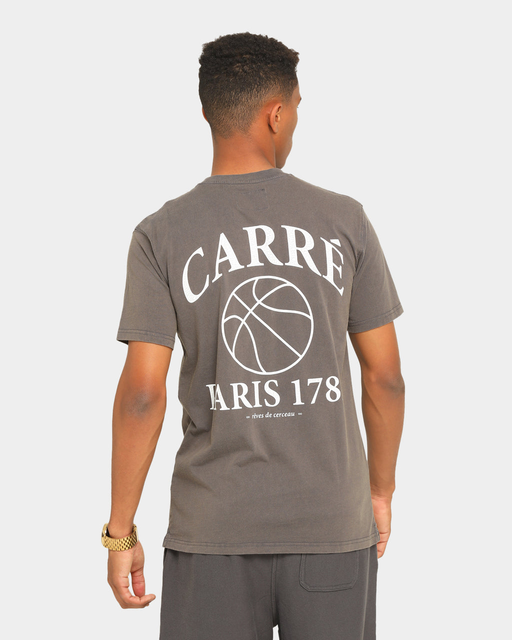 Carré Men's Hoop Dreams Classique Short Sleeve T-Shirt Grey/White
