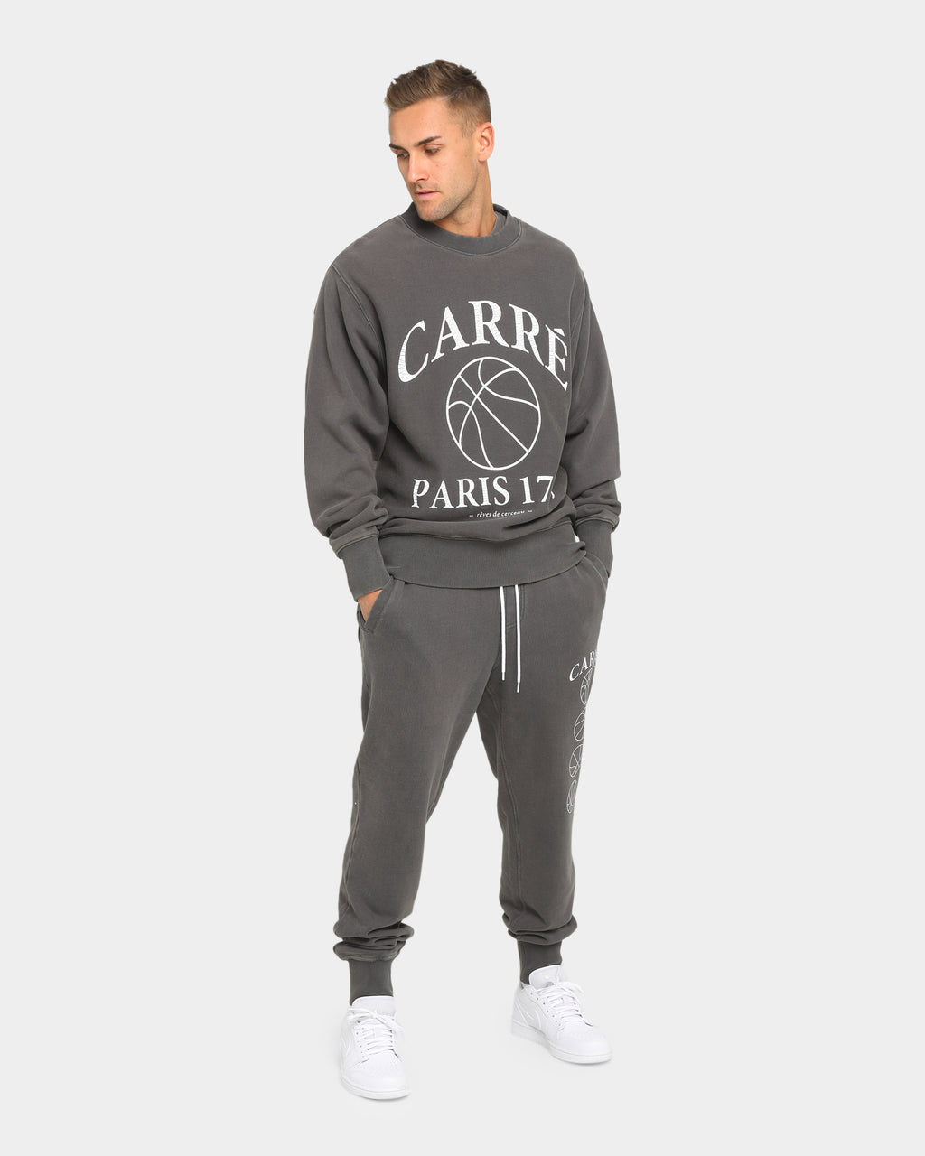 Carré Men's Hoop Dreams Classique Crewneck Grey/White