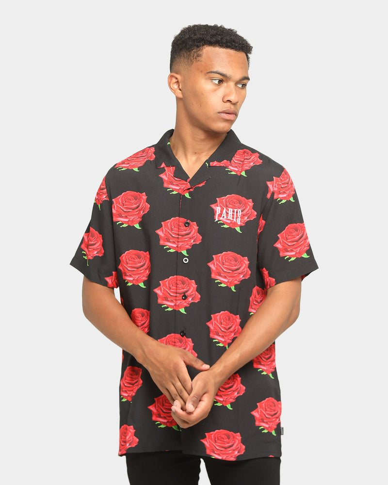 Carré Roses Short Sleeve Button Up Black