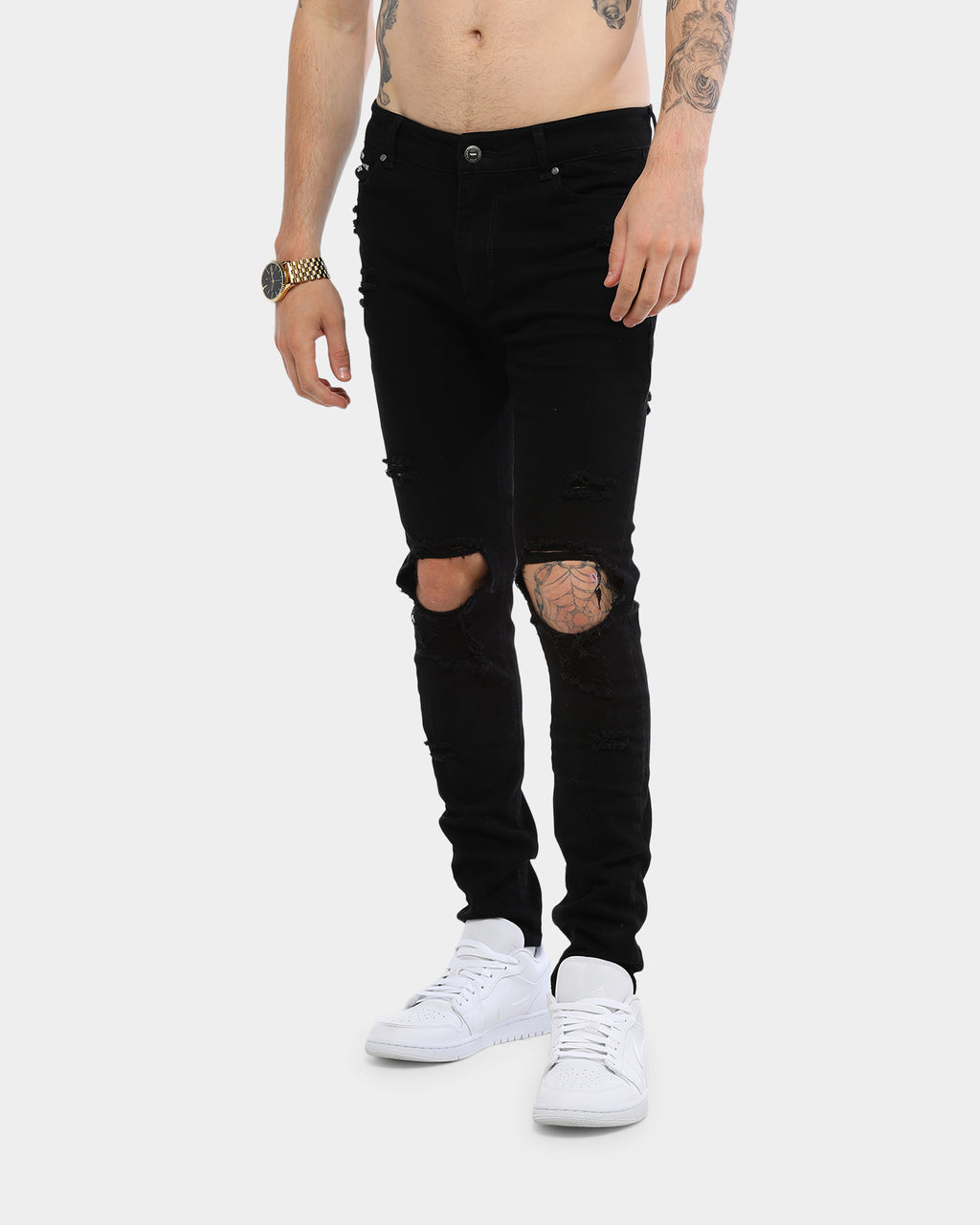 Carré Endommage Jean Tall Black