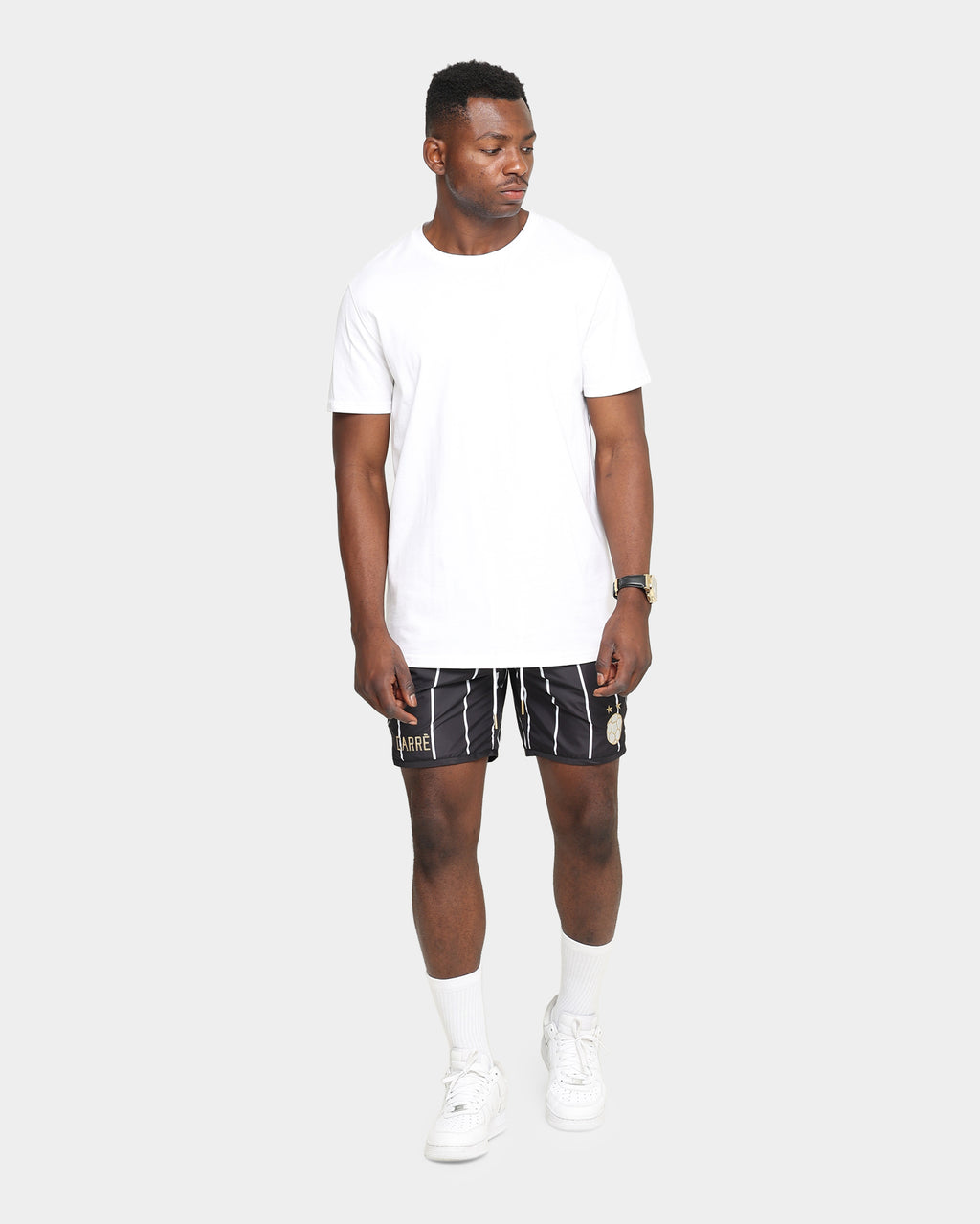 Carré Men's Deux Pinstripe Shorts Black/White