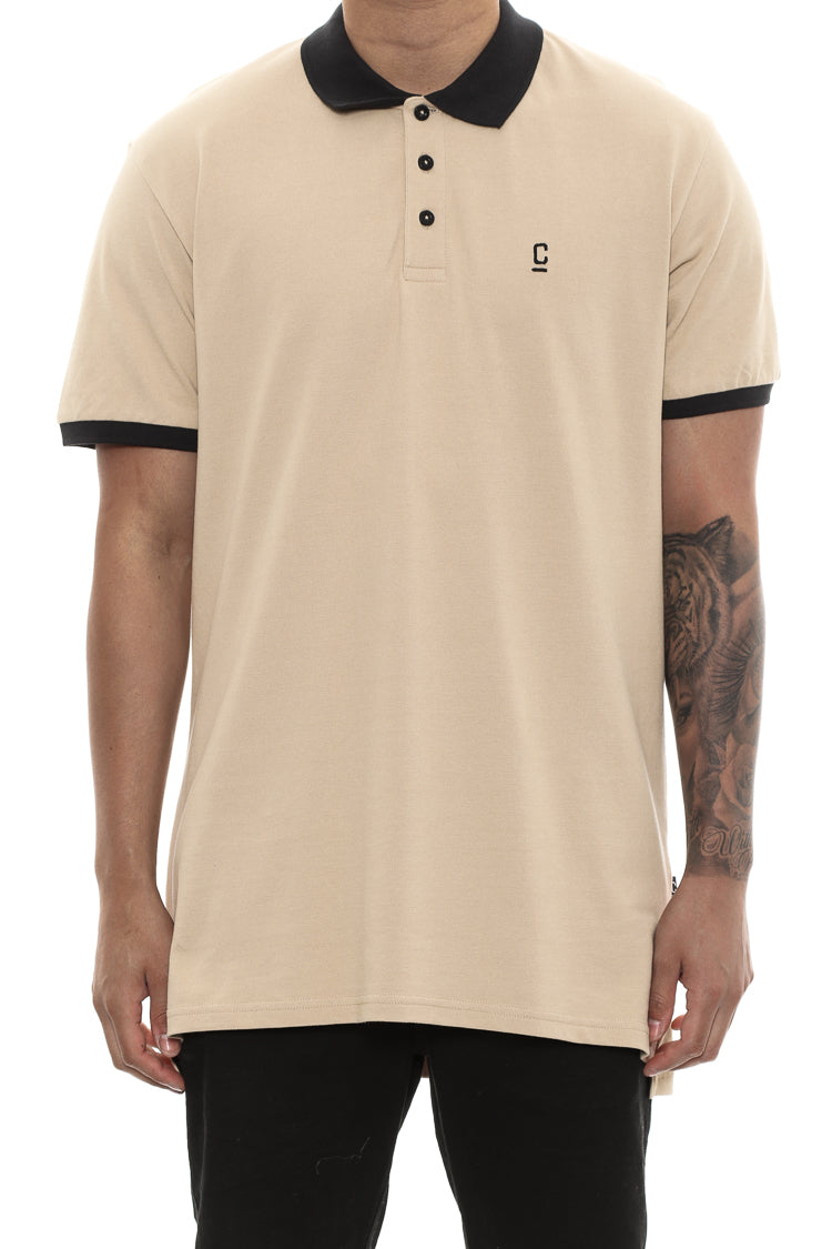 Carre Pique Polo Short Sleeve Tee Tan/black