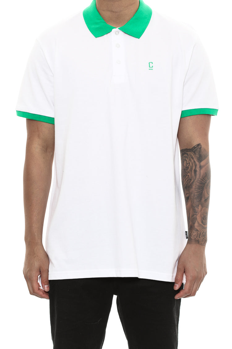 Carre Pique Polo Short Sleeve Tee White/green