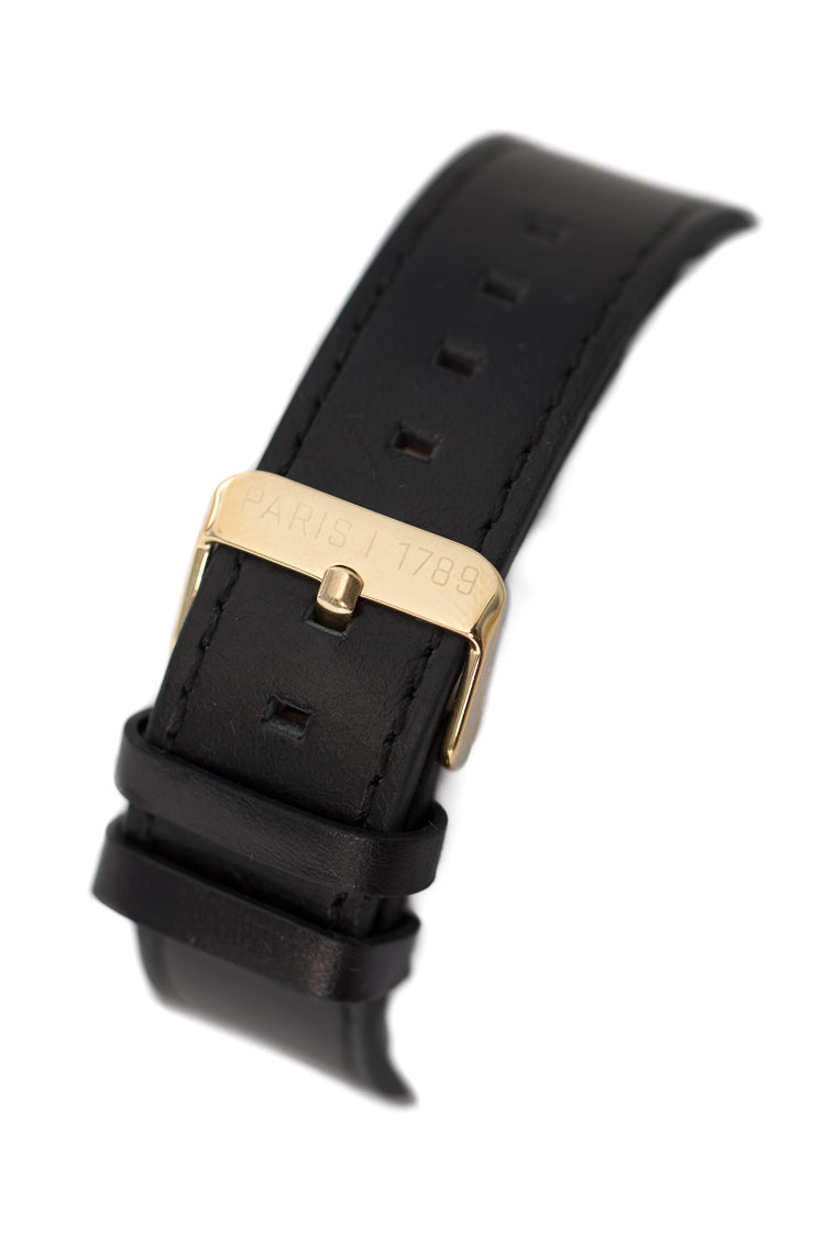 CARRÉ KING LOUIS LEATHER 40MM GOLD/BLACK