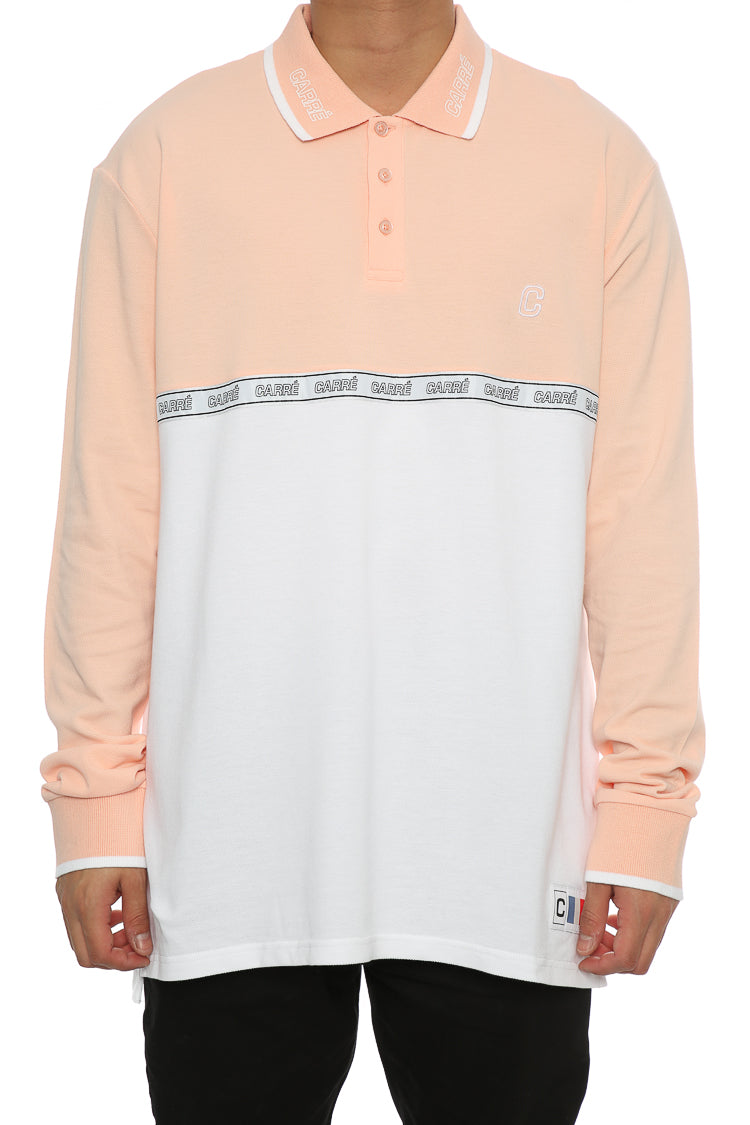 Carré Le Mas Long Sleeve Polo Peach/White