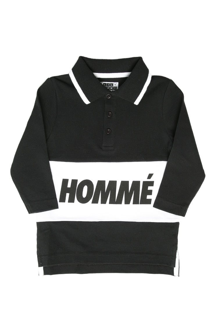 Lil Homme Pique Long Sleeve Polo Black/White