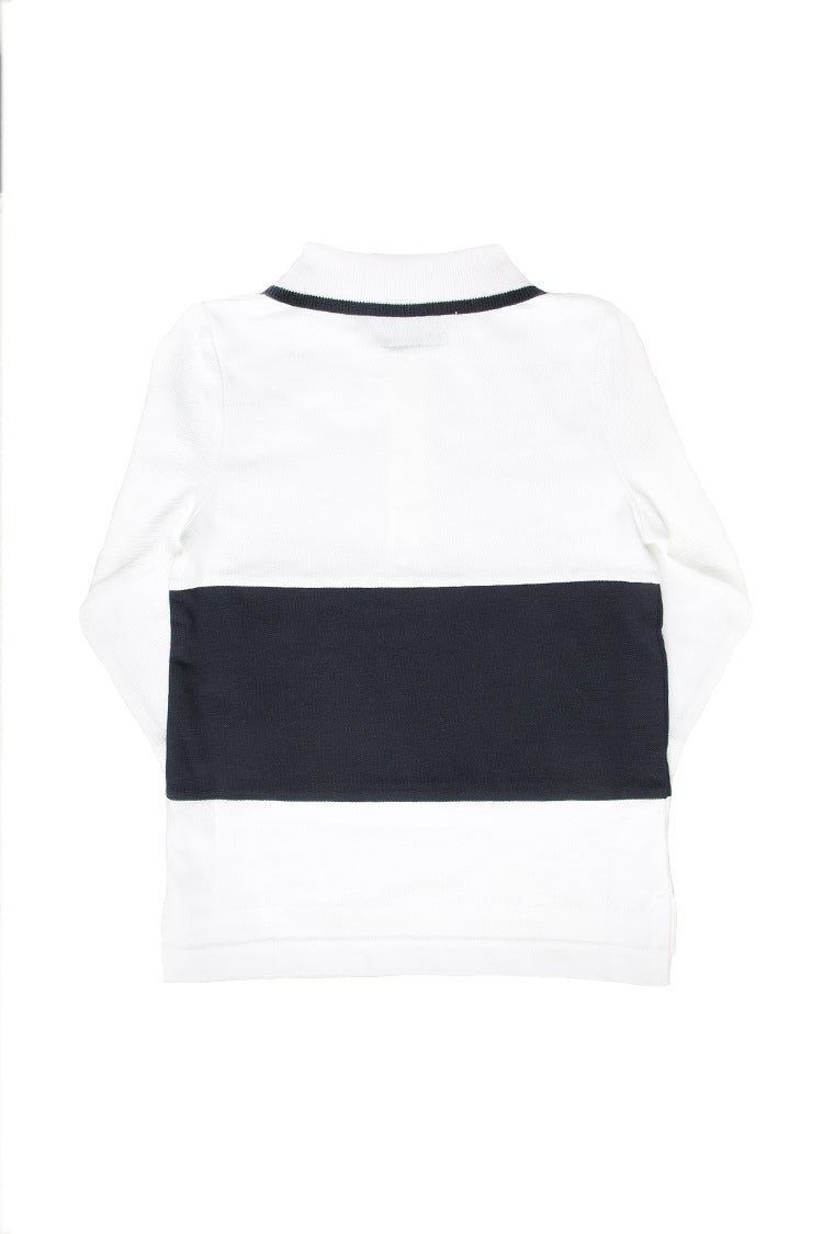 Lil Homme Pique Long Sleeve Polo White/Navy