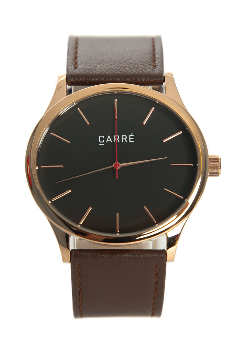 Carré King Louis Leather 45mm Rose Gold/Brown