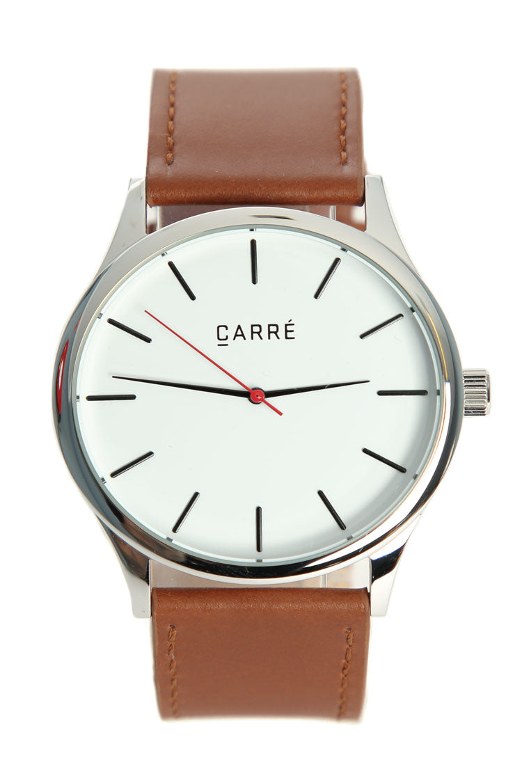 Carré King Louis Leather 45mm Silver/Tan