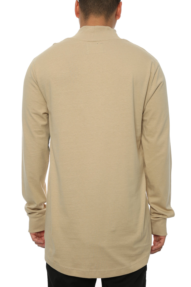 Carré Le Cou Mock Long Sleeve Tee Stone
