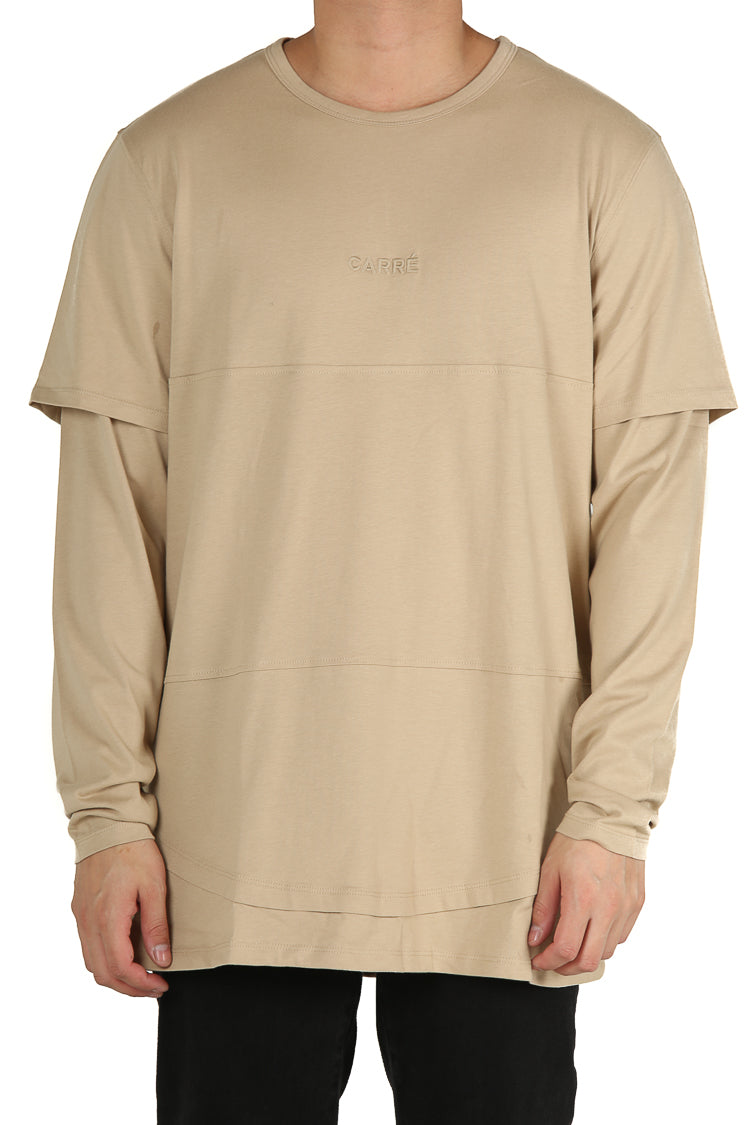 Carré Deux Layered Tee Stone