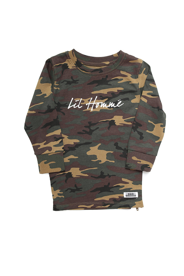 Lil Homme Lil OG Script Capone L/S Tee Camo