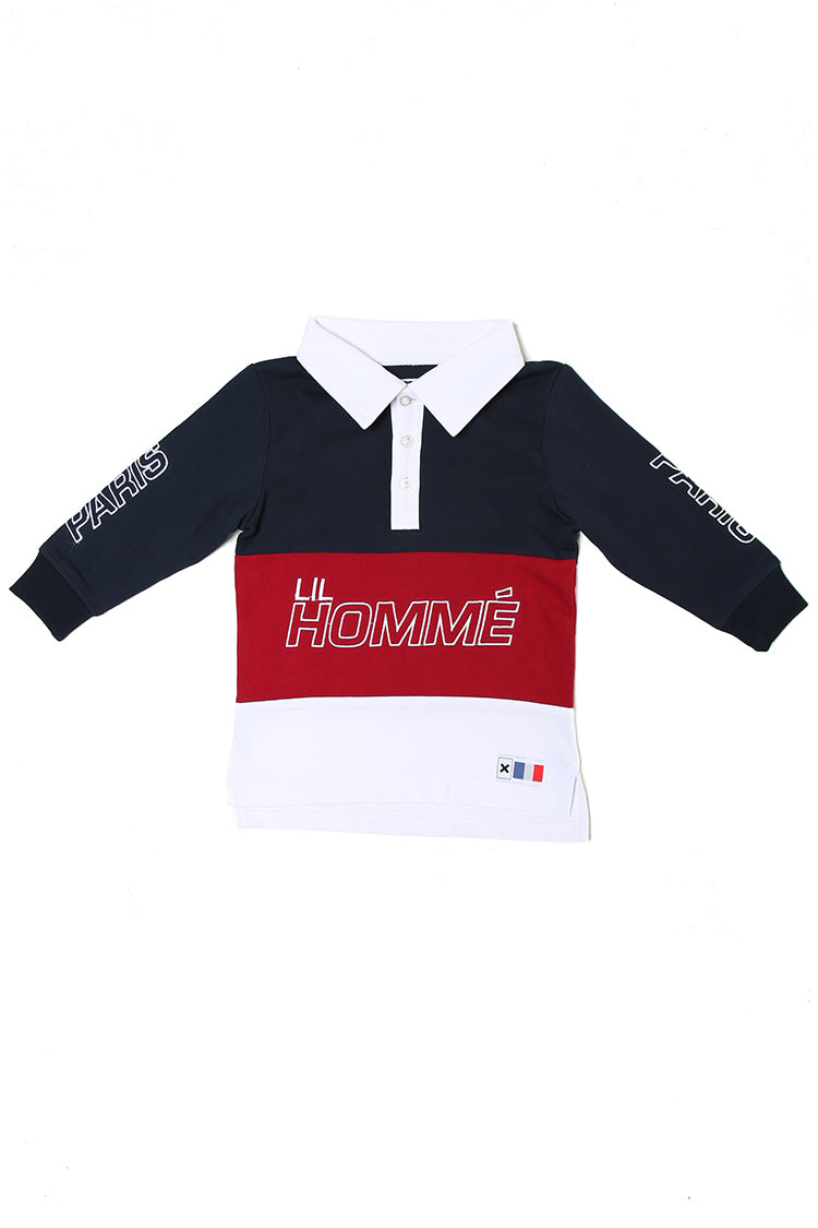 Lil Homme Conducteur Long Sleeve Polo Navy/Red/White