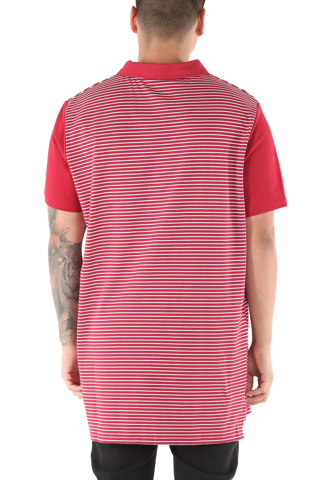 Carré Voile Short Sleeve Polo Crimson/White