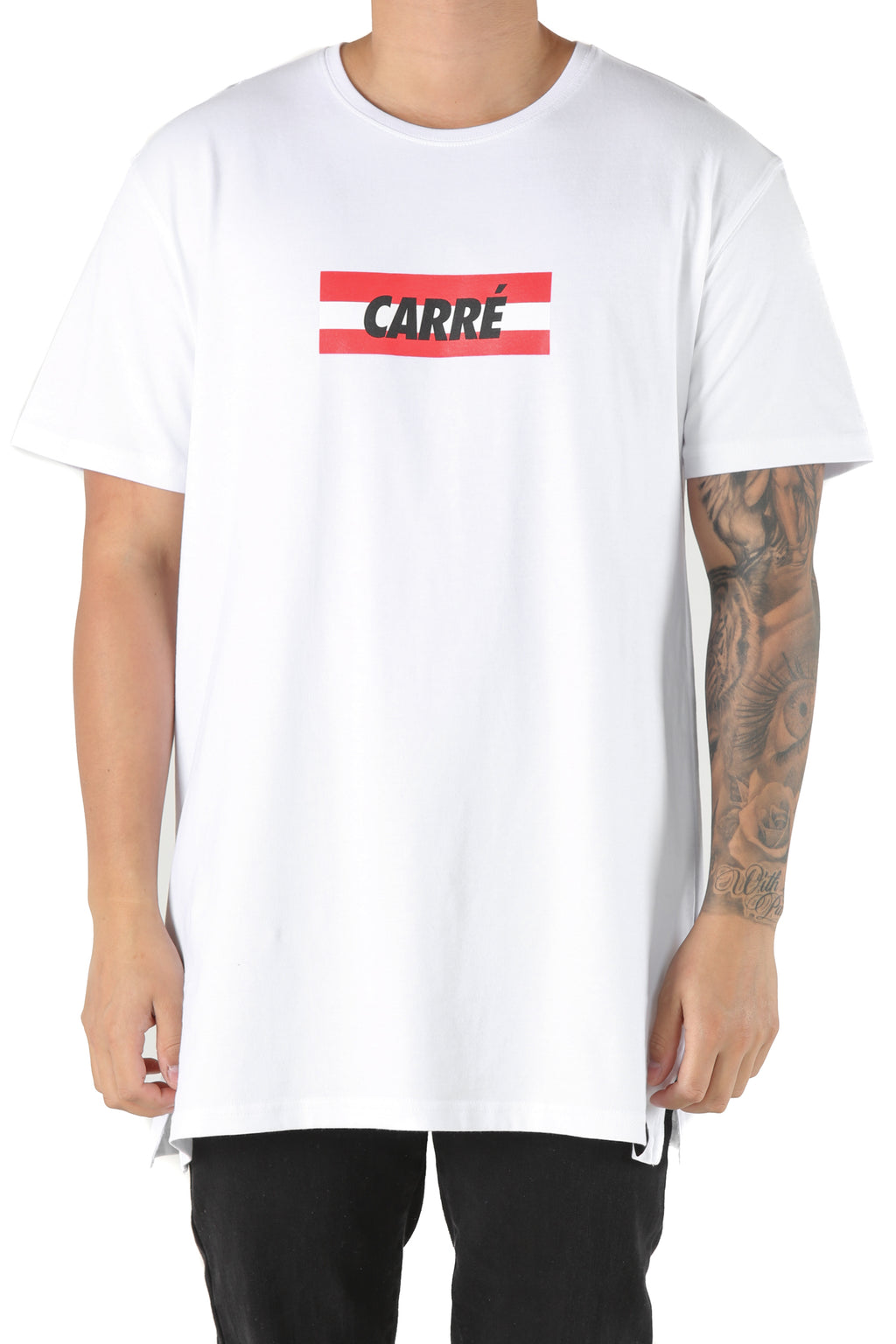 Carré Bande Incline Divise Tee White