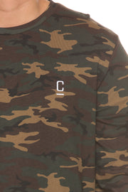 Carré Diagonal Long Sleeve Tee Black/Camo