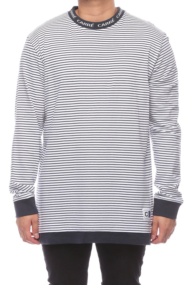 Carré Collier LS Tee Navy/White