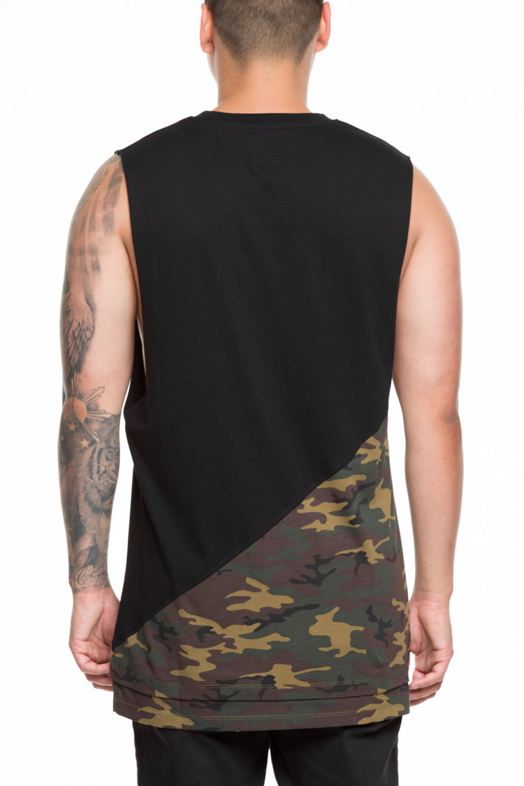 CARRÉ DIAGONAL PANEL 2 MUSCLE TEE BLACK/CAMO