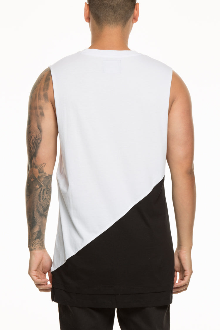 CARRÉ DIAGONAL PANEL 2 MUSCLE TEE WHITE/BLACK