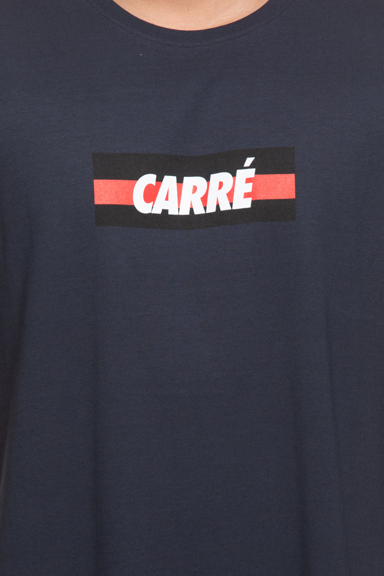 Carré Bande Incline Divise SS Tee Navy
