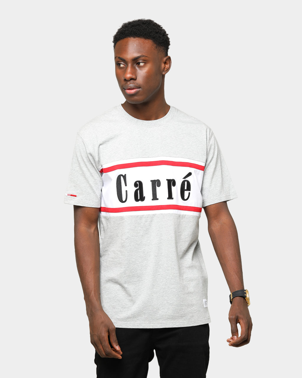 Carré Hardila Plage Classique Short Sleeve T-Shirt Grey Marle/White