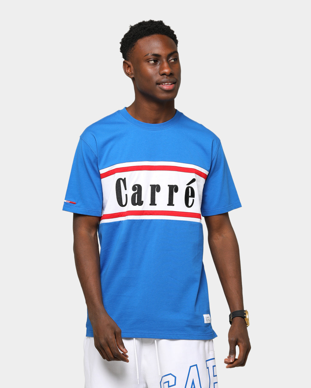 Carré Hardila Plage Classique Short Sleeve T-Shirt Blue/White