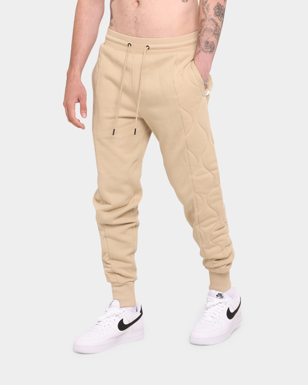Carré Motor Quilted Trackpants Stone