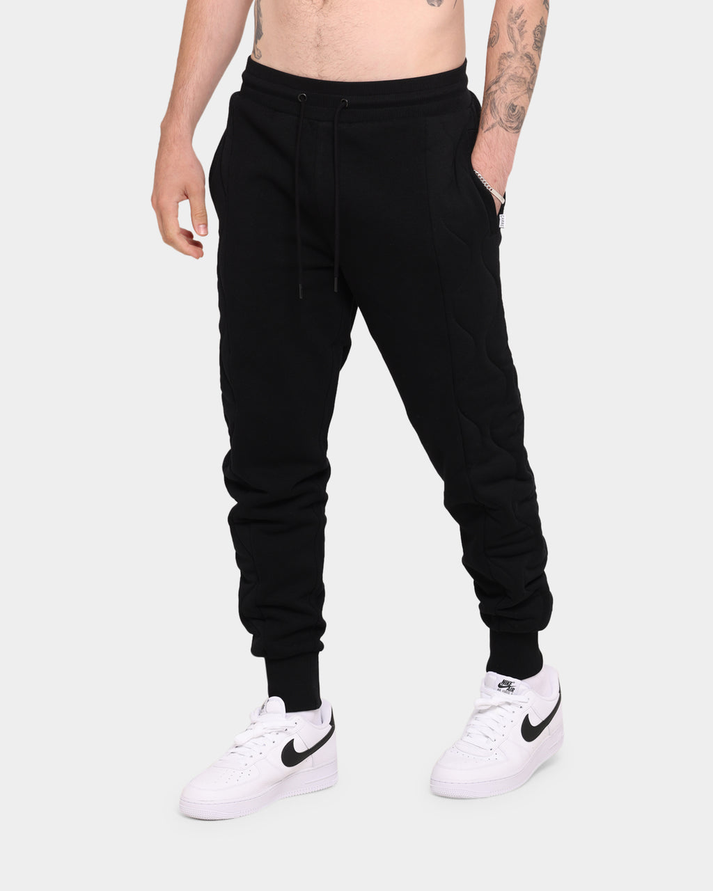 Carré Motor Quilted Trackpants Black