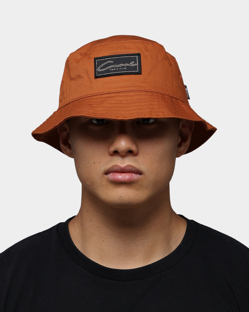 Carre Script Patch Bucket Hat Brown