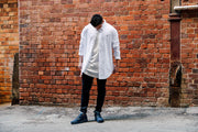Carré Longline Button Up LS White