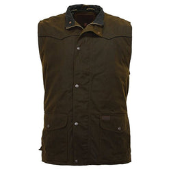 Outback Men's Magnum Vest - Western Yokes Style Long Length With Storm Flap