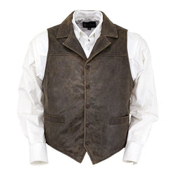 Outback Men's Chief Vest - Pure Leather Shell Cotton Line Button Closure Waiscoat