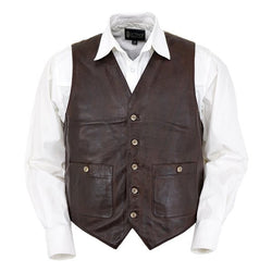 Outback Men's Outlaw Vest - Pure Leather Classic Cowboy Style Buttoned Waistcoat