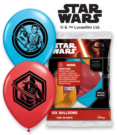 "Star Wars The Force Awakens Latex Balloons Round 12"" 6ct"