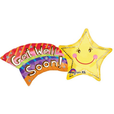 Get Well Shooting Foil Balloon 27""