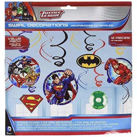 Justice League Swirl Hanging Decor 12ct