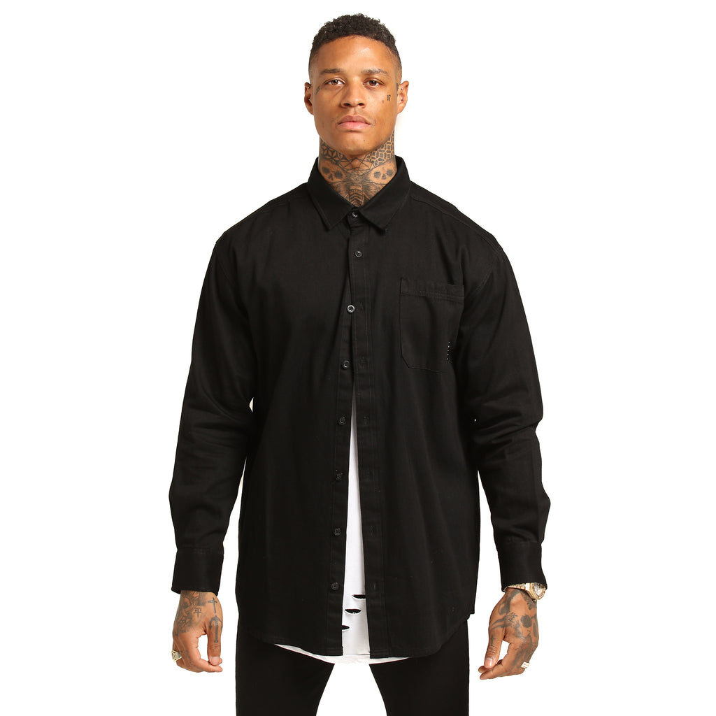 VAMOS LS DENIM SHIRT - Black